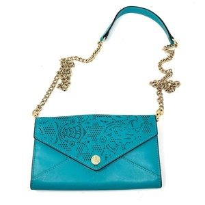 Rebecca Minkoff Laser Cut Wallet on a Chain Teal